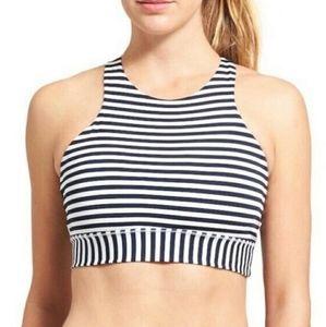 Athleta Navy & White Striped High Neck Sports Bra